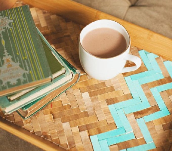 herringbone pattern serving tray