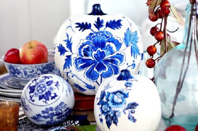 blue porcelain craft pumpkin