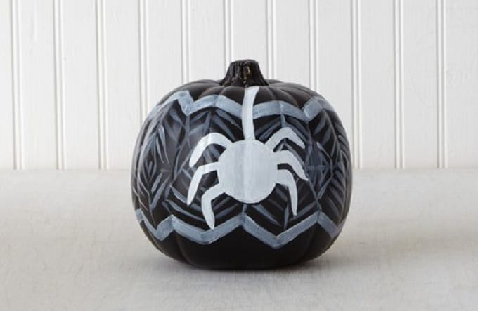 pumpkin decorating spiders and webs