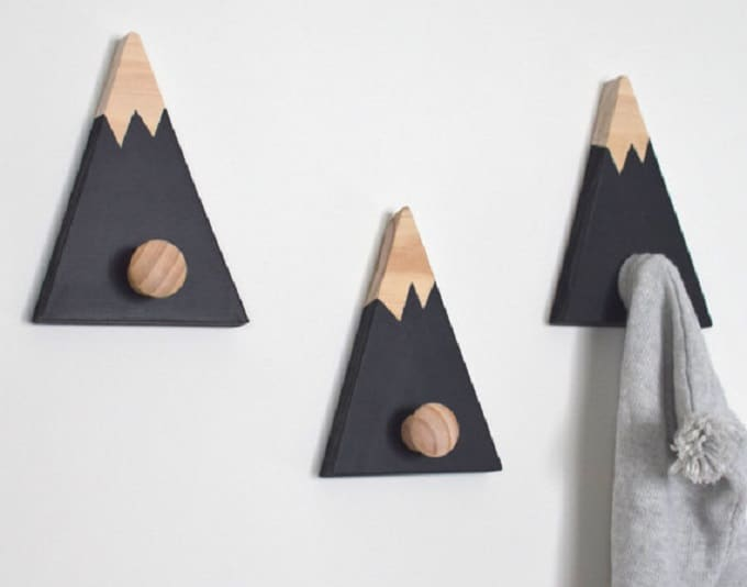 wooden mountain wall hooks