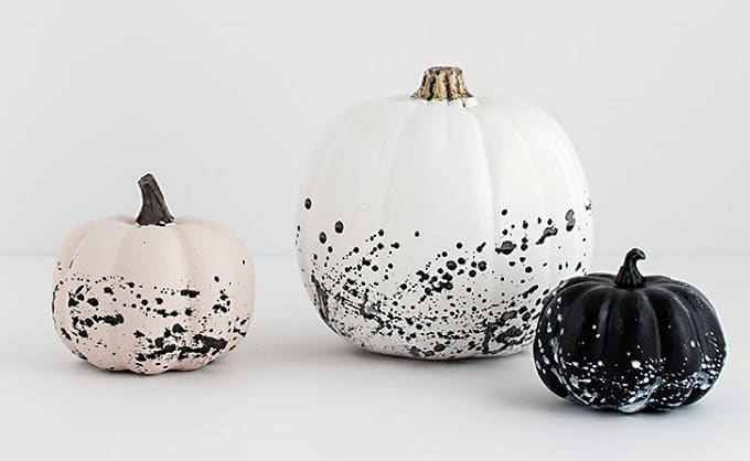 paint splattered pumpkins