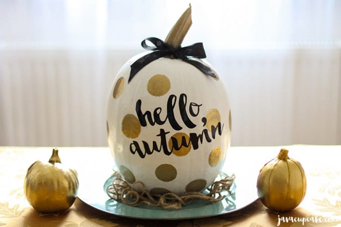 Gold polka dots and curly calligraphy pumpkin