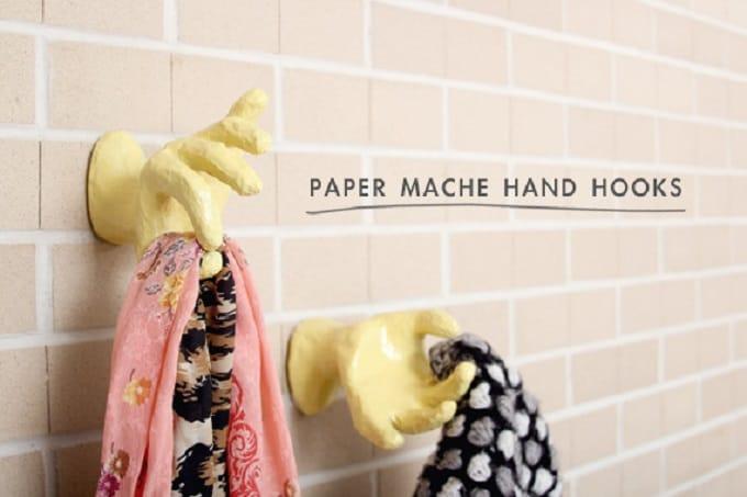 paper mache hand hooks