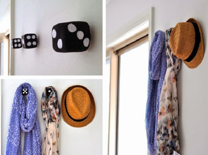 polymer clay dice wall hooks