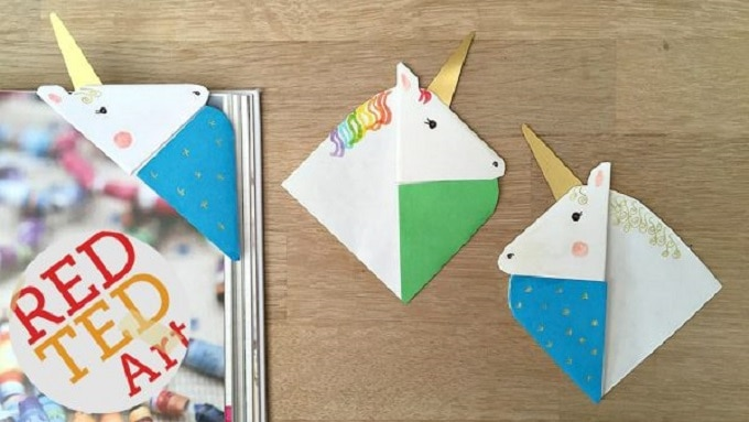 unicorn corner bookmark