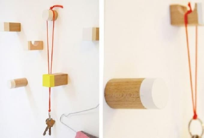DIY wall hooks using wooden toy blocks