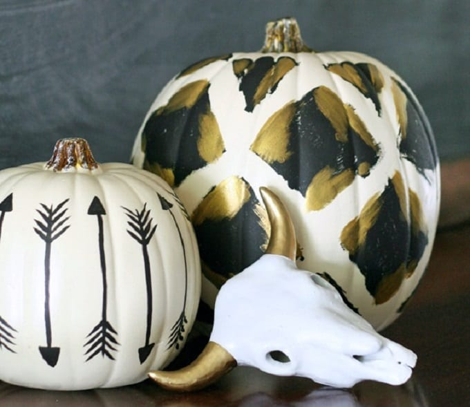 tribal inspired painted pumpkins