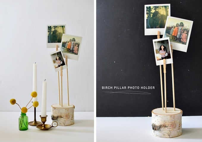 DIY birch pillar photo holders