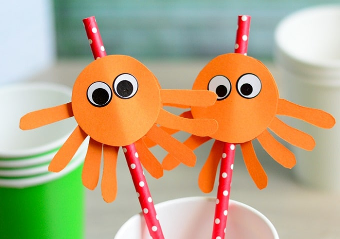 octopus straw toppers
