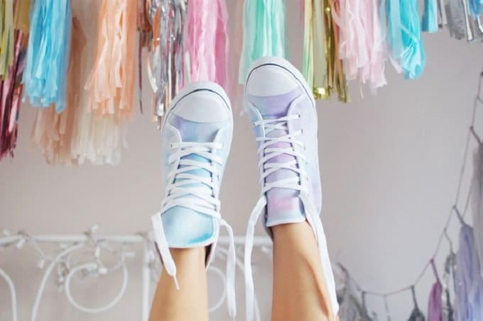 watercolor sneakers