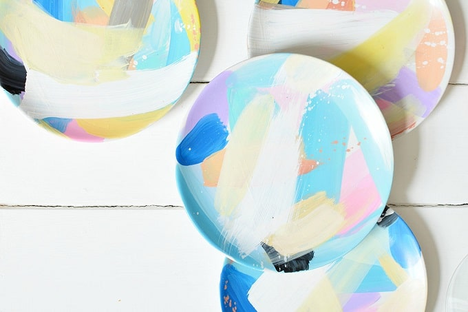 abstract painted tableware