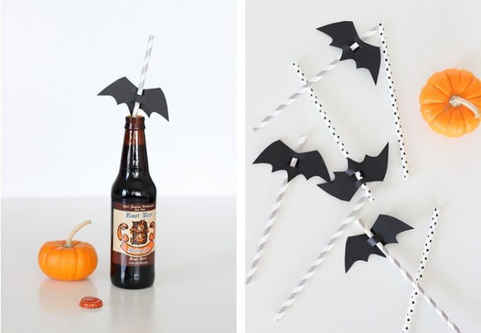 DIY bat straw toppers
