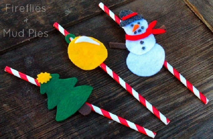 Christmas straw toppers