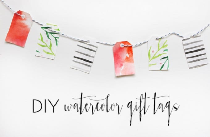 DIY watercolor gift tags
