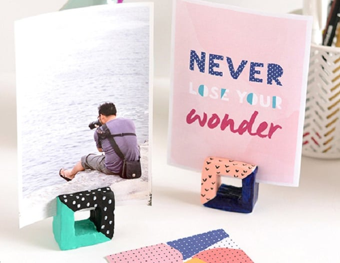 square DIY photo holders