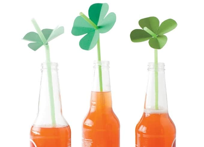 DIY shamrock straw toppers