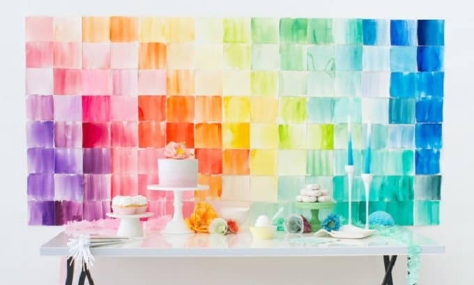 DIY watercolor party backdrop