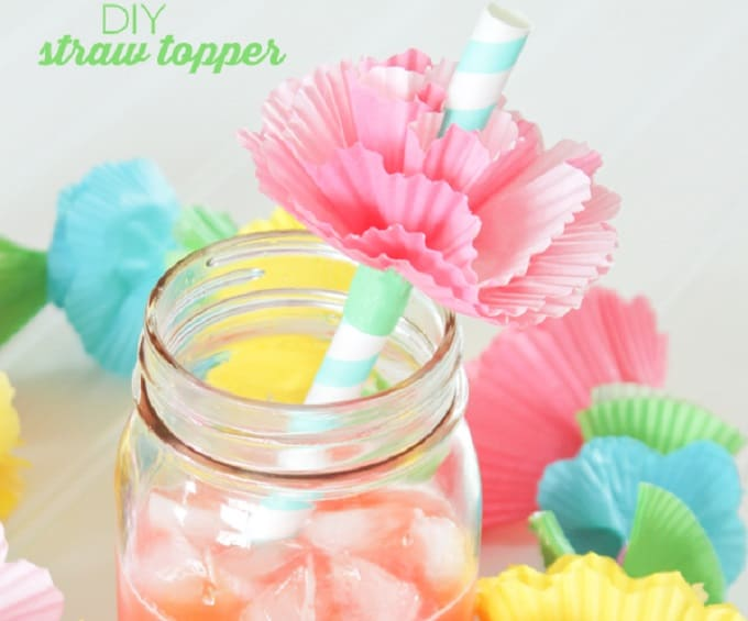 DIY paper flower straw toppers