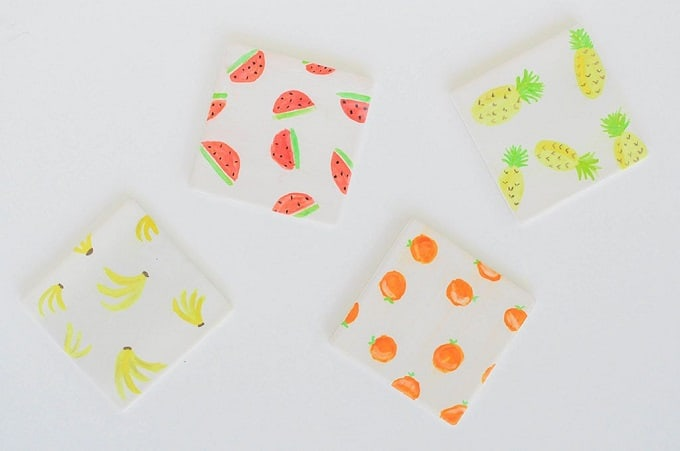 Watercolor fruit coasters