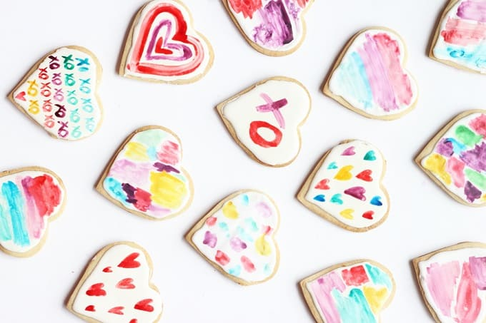 watercolor heart cookies