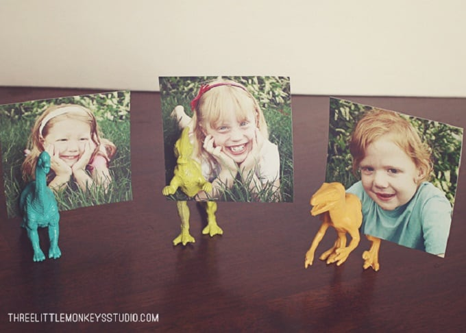 DIY dino photo holders
