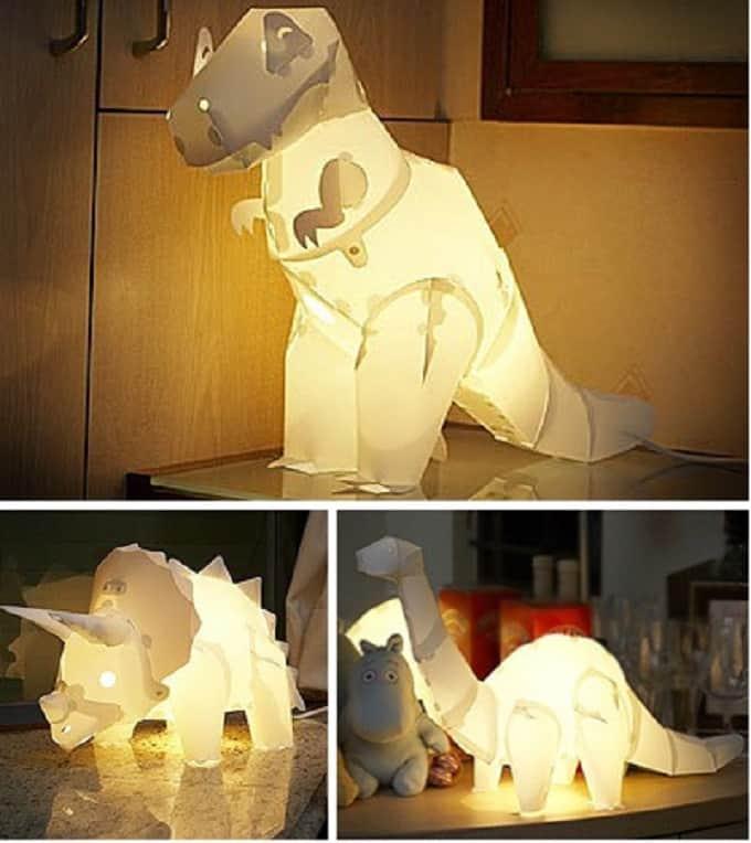 paper dinosaur lamps