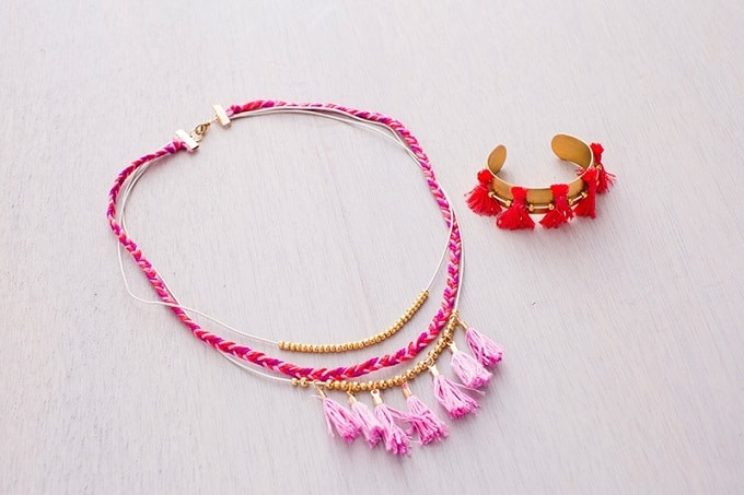 tassel necklace and bracelet