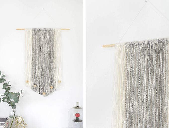 modern yarn wall hanging