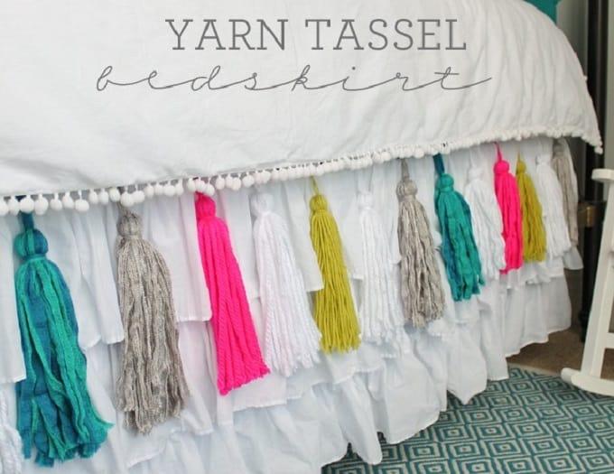 yarn tassel bedskirt