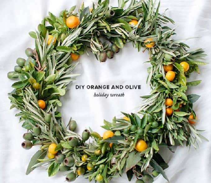 orange and olive holiday wreath