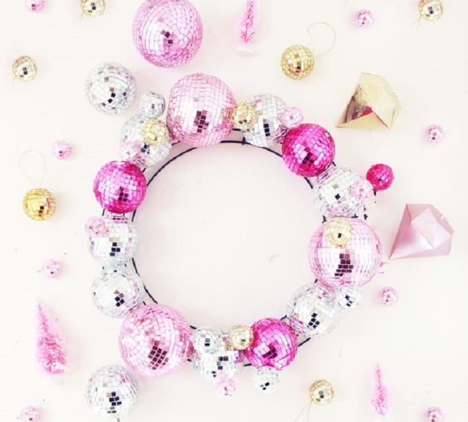 DIY disco ball wreath