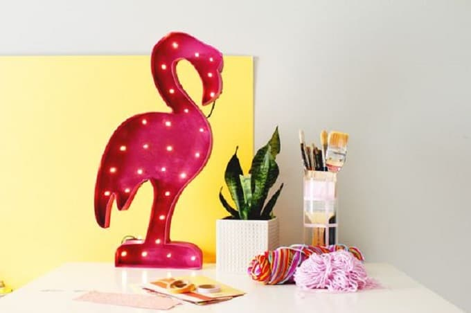 flamingo-shaped marquee light