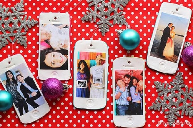 DIY phone photo ornaments