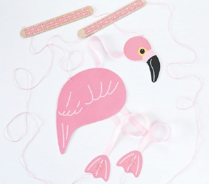 DIY flamingo marionette