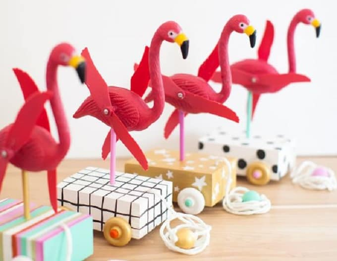DIY flamingo pull toys