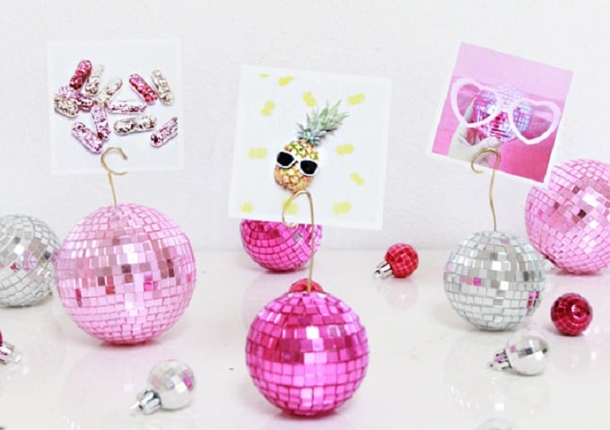 DIY disco ball photo holder