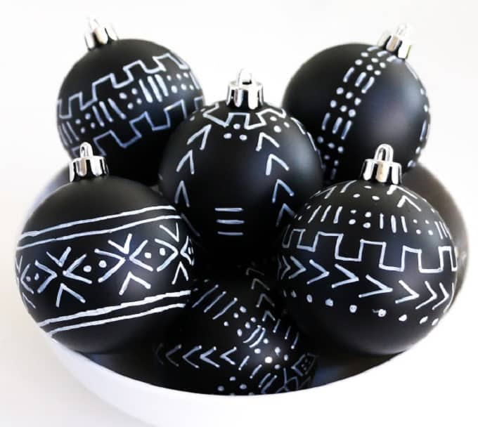 DIY mud cloth inspired ornaments