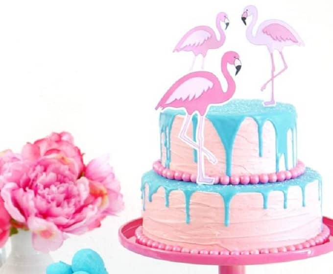 flamingo inspired drip cake