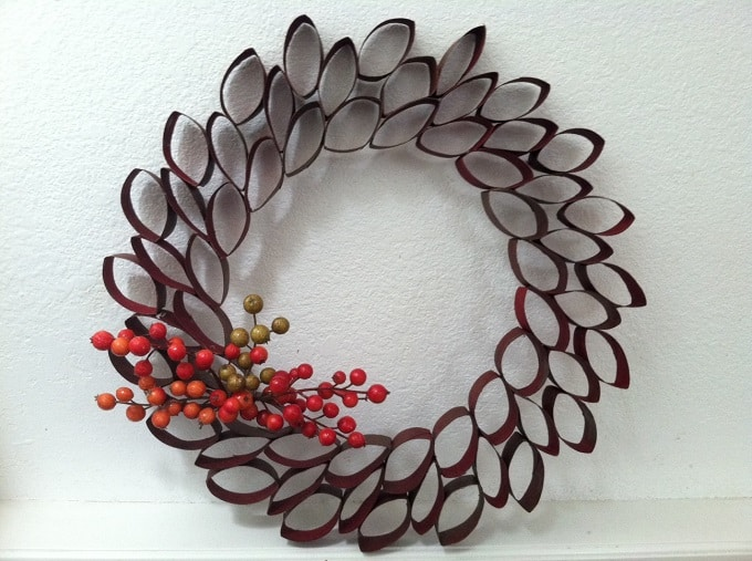 cardboard toilet roll holder wreath