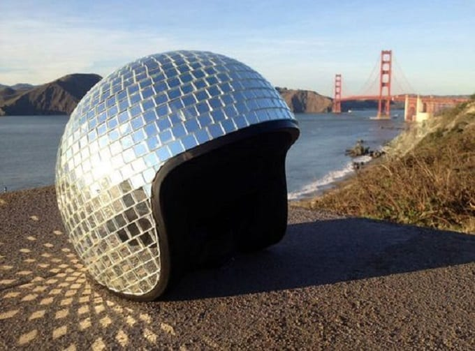 disco ball inspired helmet