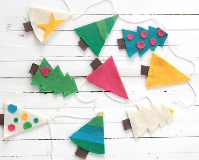 felt Christmas tree garland