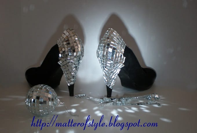diy disco ball heels