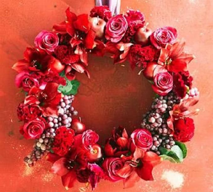 flowers and fruits Christmas wreath