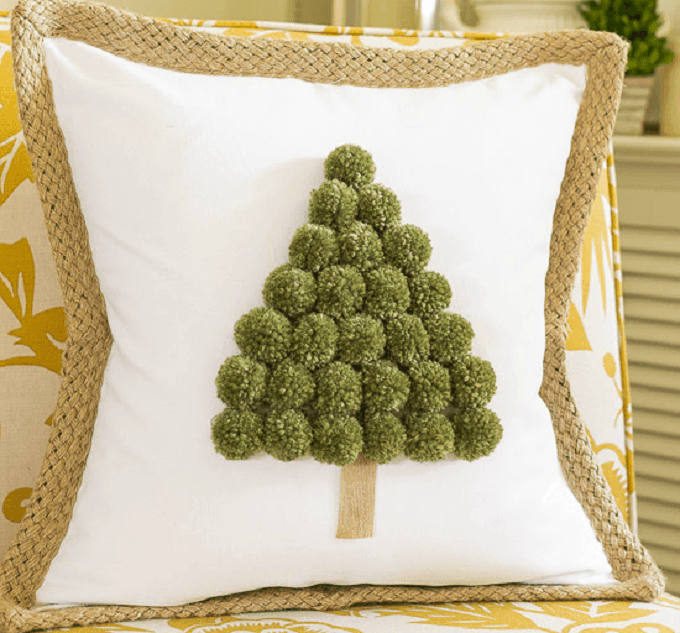 Christmas tree pom pom pillows