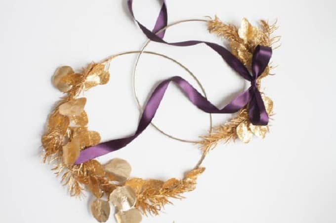 diy gold wreath