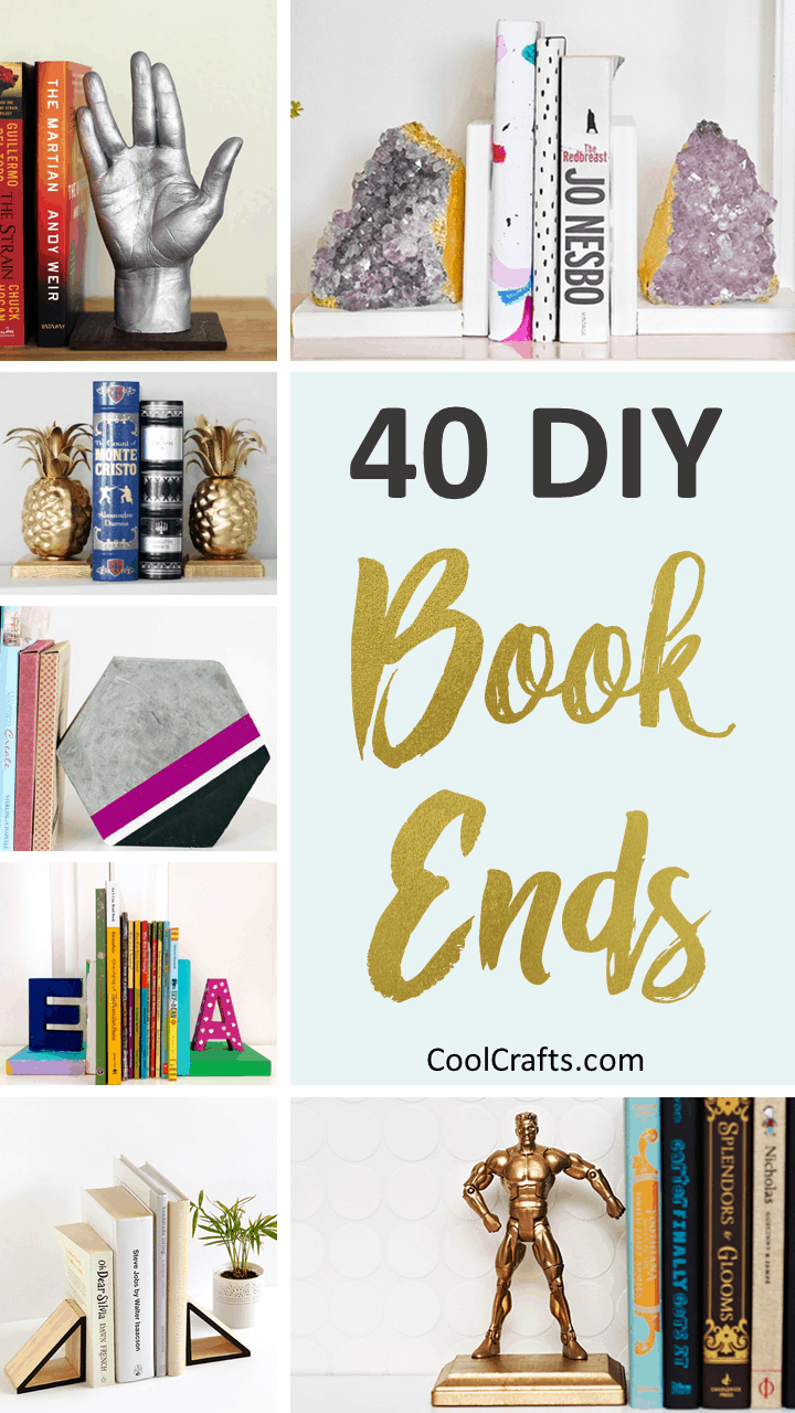 40 Decorative DIY Bookends To Spruce Up Your Shelves. | Coolcrafts.com