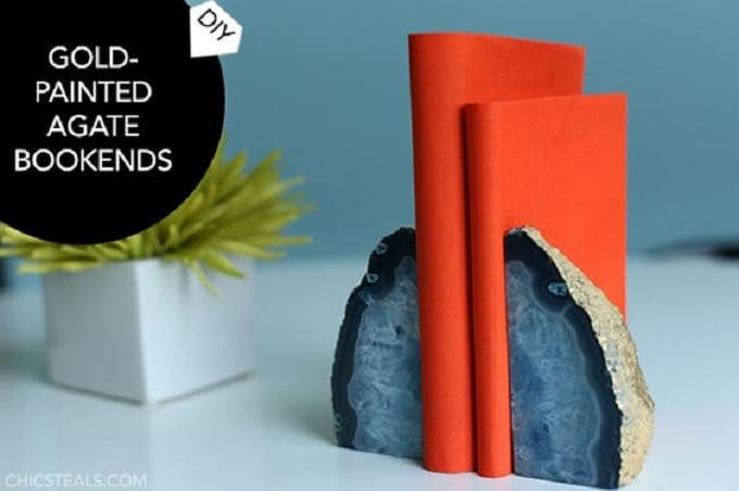 gold-plated agate bookends