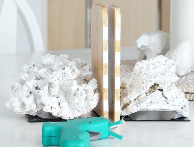 DIY coral bookends