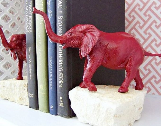 DIY elephant stone bookends