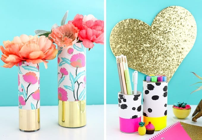 wrapped patterned vases